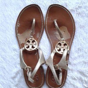 Tory Burch Sandals Violet Bronze Gold Rhinestones